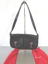BALLY Black Textured Leather Cargo Pocket Flap Shoulder Bag