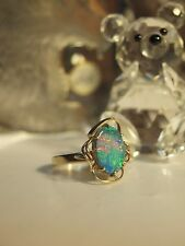 9CT YELLOW GOLD LADIES FANCY DRESS OPAL RING / HALLMARKED : 9CT / SIZE : L