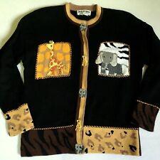 JACK B QUICK Sweater Zoo African Safari Elephant Giraffe Zebra Wild  Large L