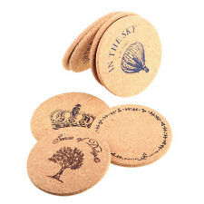 Retro Cork Wood Tea Coffee Cup Coasters Flexible Heat Resistant Round Mats 1Pc