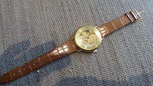 Unusual Vintage Gents Manual Wind Skeleton Wristwatch Working