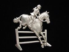 """JJ"" Jonette Jewelry Silver Pewter 'Equestrian Rider' HORSE Pin"