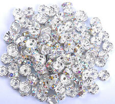 Wholesale 100Pcs Silver Plated Crystal Rhinestone Spacer Beads 4/5/6/7/8/10/12MM
