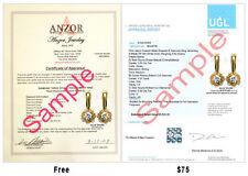 18k Yellow Gold Genuine G /SI1 1.10 CWT Diamond Malinka Earrings #E1106