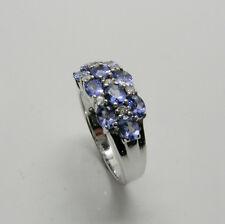 LADIES FASHION GENUINE TANZANITE RING WITH DIAMONDS IN 14K WHITE GOLD