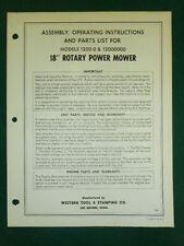 "Western Tool 18"" Rotary Mower Parts Manual 1200-0"