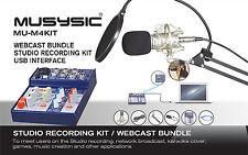 MUSYSIC Studio Recording/Webcast Kit, 4-Channel Mixer w/ USB Interface MU-M4KIT