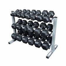Body-Solid Rack w/ 5-50 lb Rubber Dumbbells Package, GDR363, SDRS550 - Hexagonal