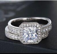 1.50 Ct Princess Cut Diamond 14K White Gold Finish Engagement Wedding Ring Set