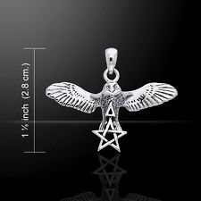 Flying Owl Pentacle and Triangle .925 Sterling Silver Pendant Peter Stone