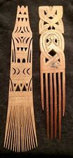 Antique Vintage African Tribal Carved Wood Hair Comb Museum Deascension Lot Of 2