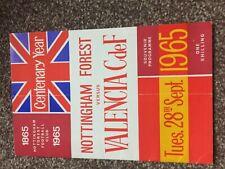 Nottingham Forest v Valencia CdF programme - Centenary Match - 28/09/1965