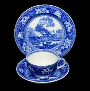 Vintage Wedgwood Fallow Dear 1920s flow blue teacup trio