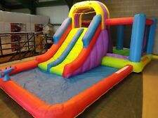 BeBop Total Wipeout Kids Bouncy Castle and Double Inflatable Water Slide