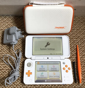 *New Style* Nintendo 2DS XL: White & Orange Handheld Console, Charger & Case