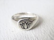 Solid 925 Sterling Silver Etched Lotus Flower Renge Signet Ring