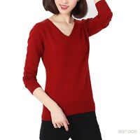 tata womens Fashion V Neck wool jumper Ladies Celebrity cashmere Sweater Size