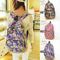 Womens Canvas Floral Rucksack Laptop Book Travel Backpack Satchel Schoolbag Bags
