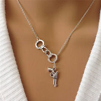 Stylish 1Pcs Handcuff and Gun Lariat Necklace Pendant Necklace FT