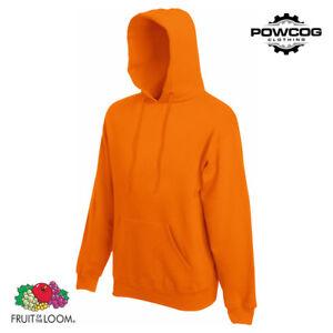 FRUIT OF THE LOOM Classic Plain Hooded Sweatshirt Hoodie Top 20 COLOURS