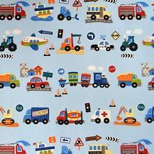 Textiles français EN ROUTE (Blue) Children's fabric - 100% Cotton 160 cm wide