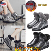 US Women's Winter Fur Lined Ankle Shoes Round Toe Glitter Warm Snow Boots Size