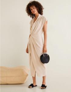 Mango Beige Draped Neckline Soft Dress Size 12 Bnwt