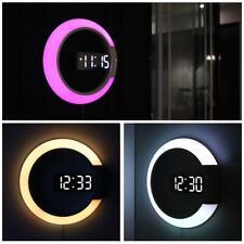 3D LED Digital Table Clock Alarm Mirror Hollow Wall Clock Modern Design