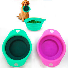 New Collapsible Dog Cat Pet Silicone Travel Feeding Bowl Water Food Dish Feeder