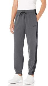 adidas FI0825 Mens Essentials 3-Stripe Fleece Pants - Grey Heather Sweatpants