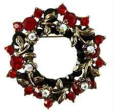 Tono Oro Antico Corona Spilla di Natale-AB, rosso e verde cristalli