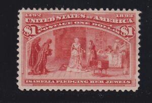 US 241 $1 Columbian Exposition Mint VF-XF OG HR SCV $1000