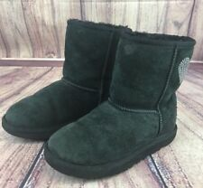 Ugg Australia Classic 5251 Girls Size 3 Black Suede Boots Embroidered hearts i99