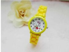 Enfants Filles Hello Kitty Jaune Bracelet Montre Analogique Silicone Bracelet Water Proof