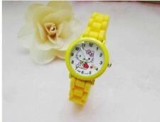 Kids Girls Hello Kitty Yellow Wrist Watch Analog Silicone Strap Water Proof