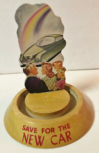 VINTAGE VIC MORAN SAVE FOR THE NEW CAR GLASS WOOD BUBBLE BANK