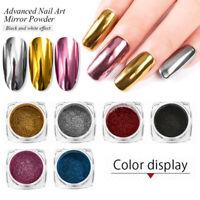 6Boxes/set Mirror Effect Glitter Nail Powder Dust Metallic Pigment Chrome Kits