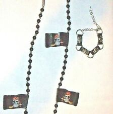 PIRATE Necklace & Bracelet Set NWT Halloween Costume Accessory Cool Skull Flags