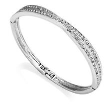 Silver Crossover Bangle with Crystals from Swarovski®