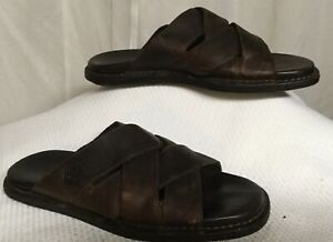 Brown Leather Slides By Timberand Men's Size 9.5 M Leather Sandals Shoes
