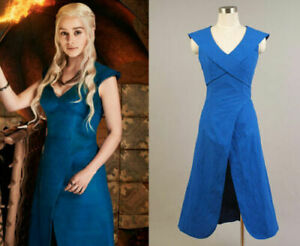 Game of Thrones Daenerys Targaryen Coplay Costume Blue Dress@