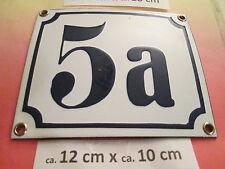 Emaille-Hausnummer Nr. 5a dunkel-blau Zahl auf weißem Hintergrund 12 cm x 10 cm