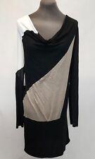 BCBG Max Azria Lightweight Sweater Dress Sz M Black Beige Color Block Loose Fit