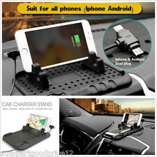 Car Holder Dashboard Stand USB Mount Charger Cradle Non-Slip Pad for Cell Phones