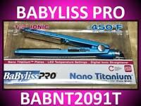 "BABYLISS PRO 1 1/4"" NANO TITANIUM LED FLAT IRON 450° HAIR STRAIGHTENER BABNT2091"