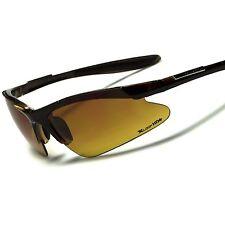 Brown Day Night Driving Biking Amber HD Lens Mens Semi Rimless Sport Sunglasses