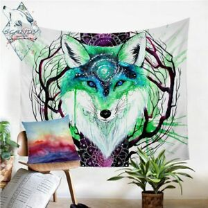 Fox Galaxy By Scandy Girl Wall Carpet Watercolor Animal Tapestry Dreamcatcher