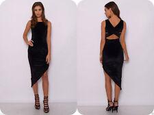 NEW LADIES UK 8 RARE LONDON BLACK ASYMMETRIC VELVET DRESS