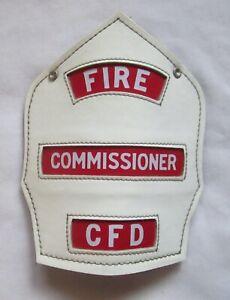 VINTAGE FIRE COMMISSIONER CFD CAIRNS LEATHER HELMET SHIELD BADGE DEPT CHICAGO ?