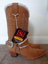 NEW SENDRA 100% NUBUCK LEATHER BOOTS WITH BEAUTIFUL CRYSTAL BUCKLES SIZE 4.5